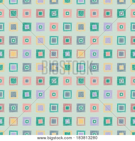 Seamless Vector Geometrical Pattern With Rhombus, Squares. Endless Background With Hand Drawn Textur