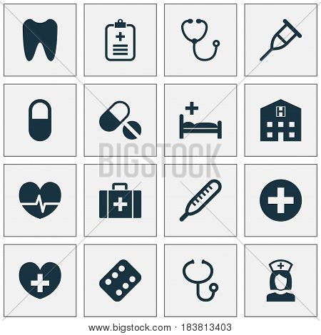 Antibiotic Icons Set. Collection Of Device, Claw, Chest And Other Elements. Also Includes Symbols Such As Antibiotic, Rhythm, Plus.