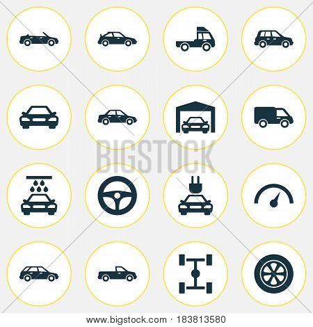 Automobile Icons Set. Collection Of Repairing, Van, Carriage And Other Elements. Also Includes Symbols Such As Cabriolet, Control, Truck.