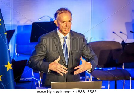 BRUSSELS, BELGIUM. January 25, 2017. Tony Blair speaking in the European Parliament. He is a former British Prime Minister and Special Envoy of the Quartet on the Middle East