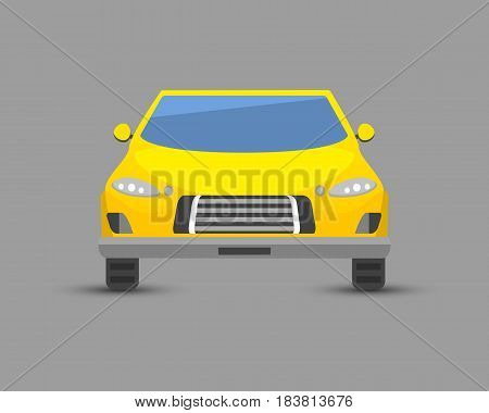 Flat yellow car vehicle type design sign technology style vector generic classic business illustration isolated. Transportation luxury side view travel contemporary fast traffic.