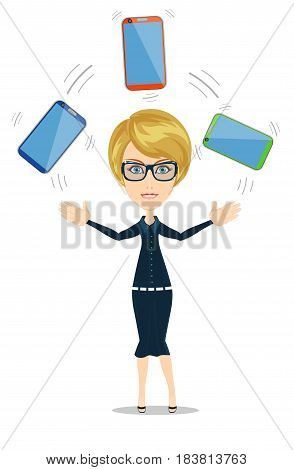 Portrait of a smiling casual woman holding smartphone over background. Stock flat vector illustration.