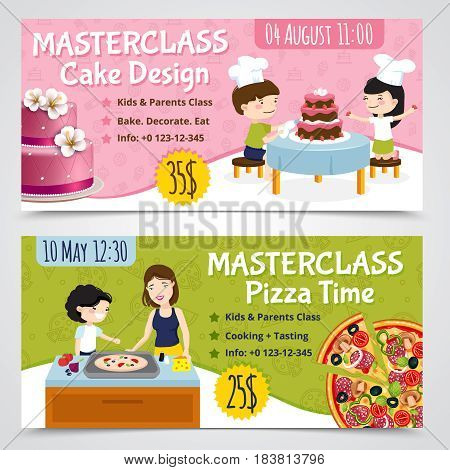 Kids cooking horizontal banners set of two cartoon show bills pizza and cake with editable text vector illustration