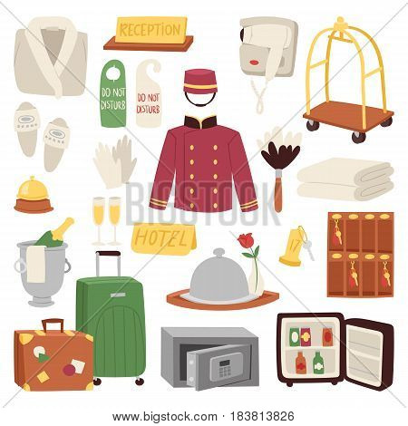 Hotel or accommodation icon set travel symbol service reception luggage suitcase vector illustration. Business cleaning concept door reservation tourist customer concierge elements.