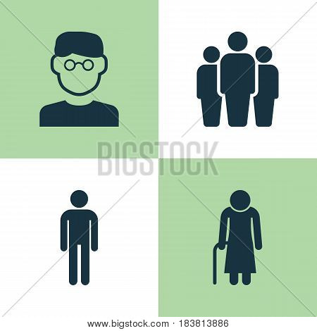 Human Icons Set. Collection Of Scientist, Group, Old Woman And Other Elements. Also Includes Symbols Such As Group, Smart, Scientist.