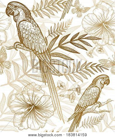Flowers and birds seamless pattern. Hand drawing of wildlife. Print gold foil on white background. Exotic plants parrots. Vector illustration art. Template for luxury fabrics paper summer textiles.