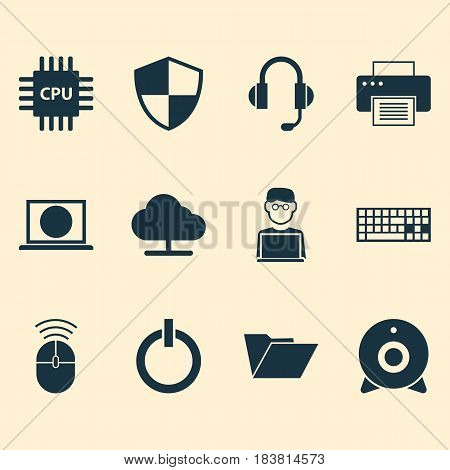 Computer Icons Set. Collection Of Computer Mouse, Web, Earphone And Other Elements. Also Includes Symbols Such As Earphone, File, Microphone.