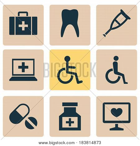 Antibiotic Icons Set. Collection Of Pills, Diagnosis, Dental And Other Elements. Also Includes Symbols Such As Invalid, Chest, Disabled.