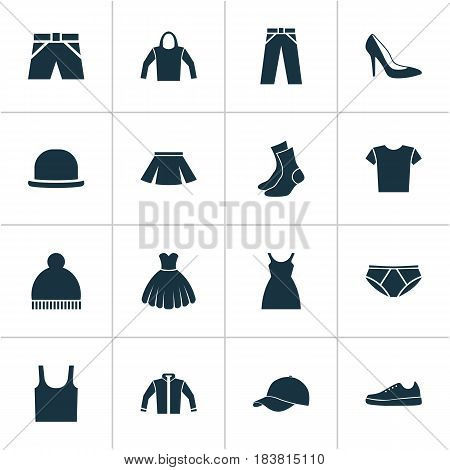 Clothes Icons Set. Collection Of Heel Footwear, Sarafan, Casual And Other Elements. Also Includes Symbols Such As Shorts, Heel, Wear.