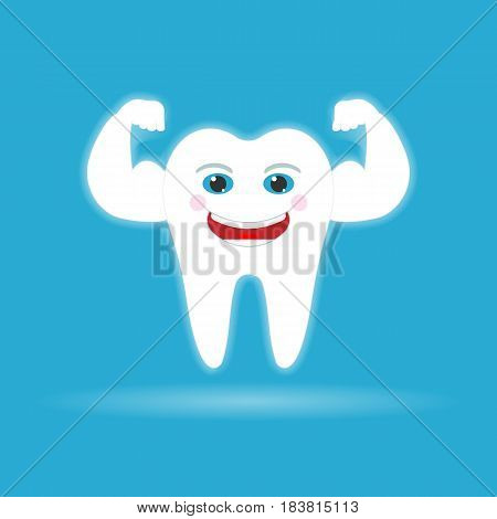 Strong healthy tooth. isolated on background. Vector illustration. Eps 10.
