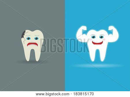 set of two teeth isolated on background. Vector illustration. Eps 10.