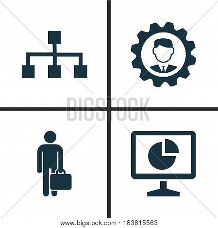 Trade Icons Set. Collection Of Hierarchy, Leader, Statistics And Other Elements. Also Includes Symbols Such As Analytics, Work, Gear.
