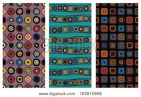 Set Of Seamless Vector Geometrical Patterns. Endless Background With Hand Drawn Ornamental Squares,
