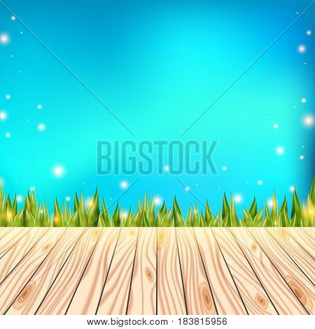 Summer background with wooden deck. Floor over green grass and blue sky. Abstract vector illustration. Blurred spring design.