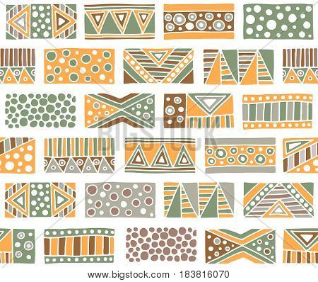 Seamless Vector Pattern. Geometrical Background With Hand Drawn Decorative Tribal Elements In Vintag