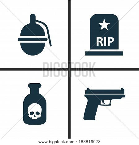 Army Icons Set. Collection Of Rip, Weapons, Bombshell And Other Elements. Also Includes Symbols Such As Danger, Nuclear, Tomb.