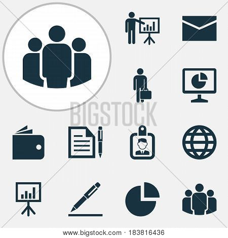 Job Icons Set. Collection Of Contract, Presentation Board, Billfold And Other Elements. Also Includes Symbols Such As Letter, Earth, Analytics.