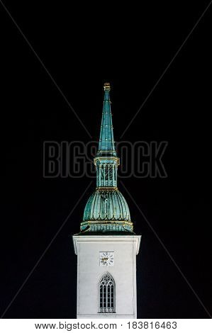 The spire of St. Martin's Cathedral Bratislava Slovakia.