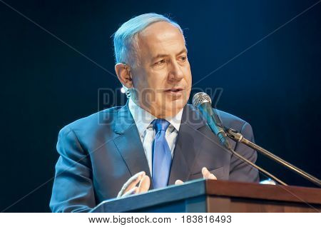 Benjamin Netanyahu, prime minister of Israel, giving an address at the official Channel 9 TV ceremony