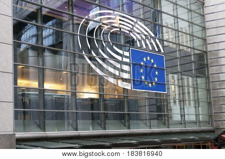 BRUSSELS, BELGIUM. January 25, 2017. The sign of the European Union on the EU Parliament main building glass window.