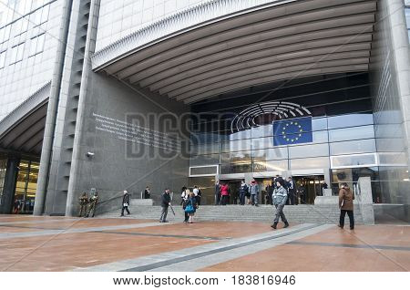 BRUSSELS, BELGIUM. January 25, 2017. The European Parliament, main building in central Brussels stock image.