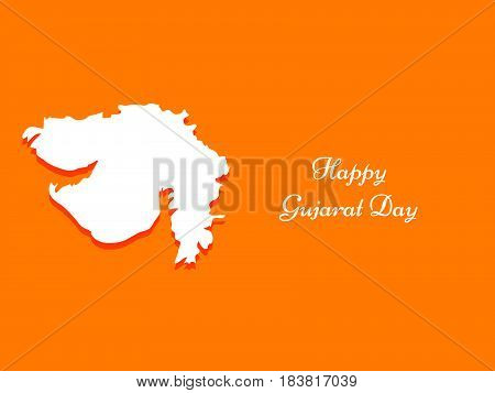 Illustration of map of gujarat state, India with text of gujarat day