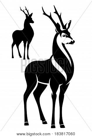 beautiful standing deer - black and white vector outline and silhouette