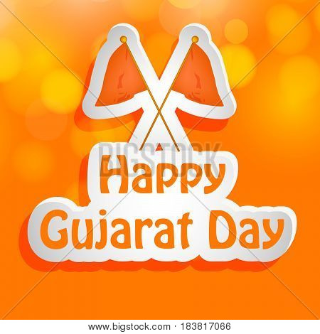 Illustration of flag of gujarat state, India with text of Gujarat Day