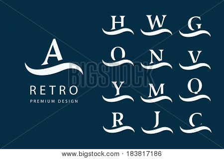 Vector illustration of Abstract Logo Design. Modern Emblems. Set of Capital Letters on the wave. Mark of distinction. Minimum Elements. Universal Template Monograms. Fashion Label for Royalty Company Business card.