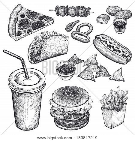 Food and drink. Burger fries pizza nuggets kebabs garlic ketchup hot dog isolated on white background. Designed for fast food restaurants and cafes. Vector illustration art set. Black and white