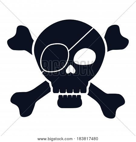 pirate skull icon over white background. vector illustration