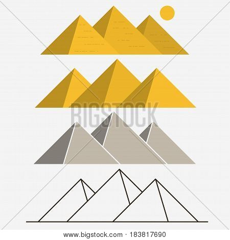 Egypt Pyramids, Giza Egyptian Landscape. Outline illustration, vector icon
