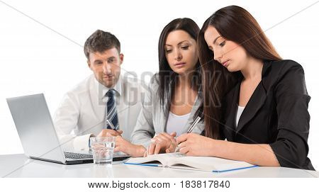 Business people using laptop at office on background