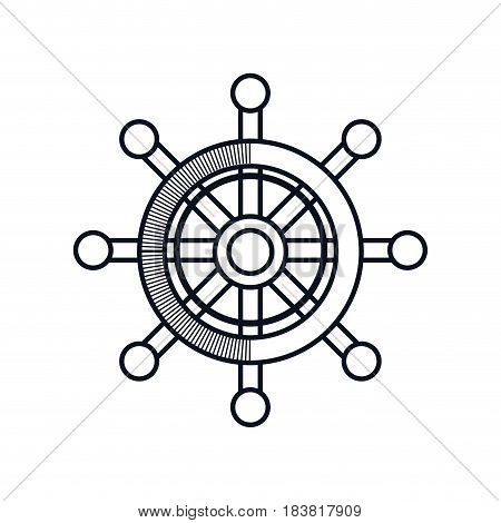 rudder wheel icon over white background. vector illustration