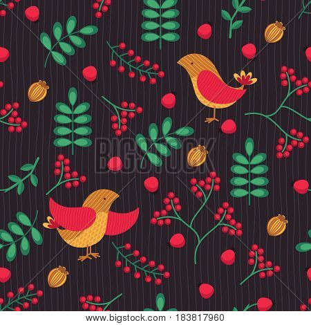 Seamless  patterns with bird, leaves and berries. Hand drawn vector background.