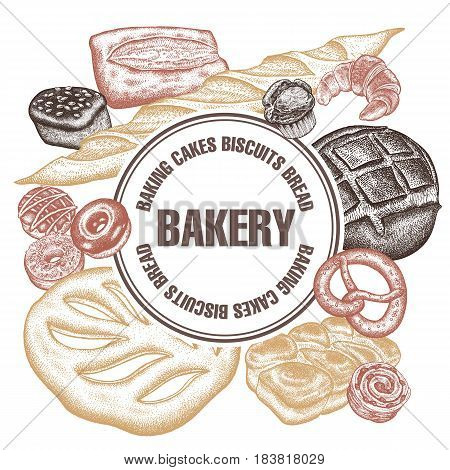 Frame of bakery products with space for text. Hand drawing. Variety of breads. Buns rye bread French baguettes donuts croissant pretzel. Vector illustration. Food design for confectionery bakery
