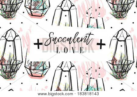 Hand drawn vector abstract creative header with succulents flower, cacti plants in terrariums and modern calligraphy quote Succulents love isolated on white background.Wedding, save the date, birthday