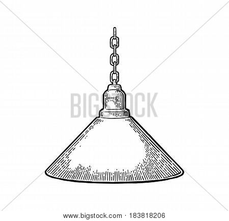 Hanging lamp with chain. Vintage black engraving illustration for poster, web. Isolated on white background.