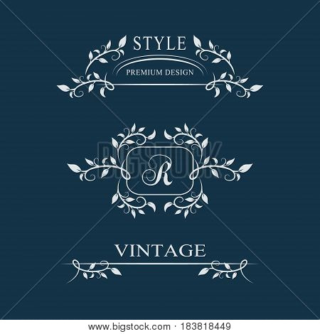 Decorative Floral Vintage Monogram. Set Of Calligraphic Logo Templates. Letter Emblem Sign R. Design