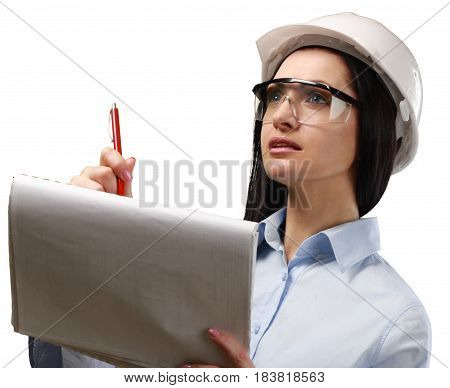 Portrait of Female Engineer with Helmet and Clipboard