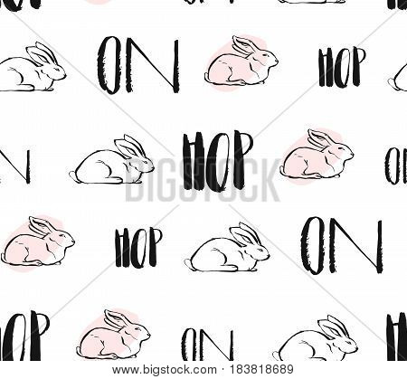 Hand drawn vector abstract creative universal Easter seamless pattern design with white rabbits and hop on quote in pastel colors isolated on white background.Spring unusual graphic decoration