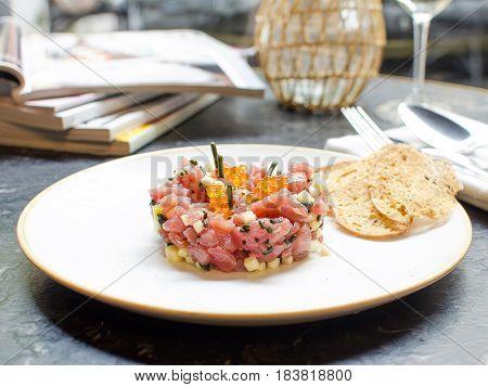 Tartar de atún rojo bluefin. Bluefin Tuna Tartar.