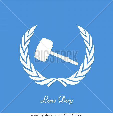 Illustration of gavel with Law Day text