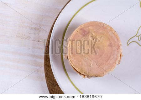 Flat Lay Luncheon Meat On The Plate With Copy Space