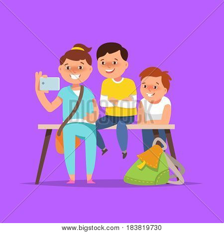 Vector illustration group happy school boy and girl in classroom in cartoon style on blue background. The concept of friendship school life education
