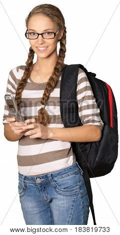 Friendly Young Girl with Rucksack Texting on Phone - Isolated