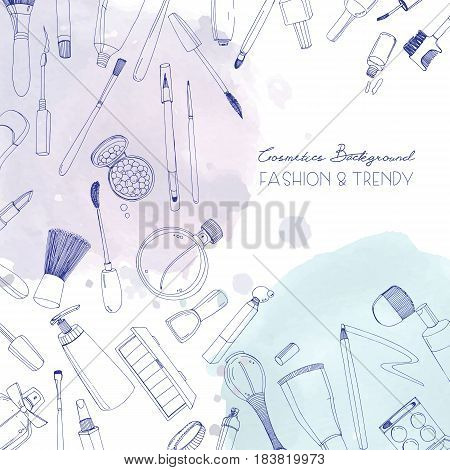 Fashion cosmetics square background with make up artist objects and watercolor spots. Vector hand drawn illustration with place for text