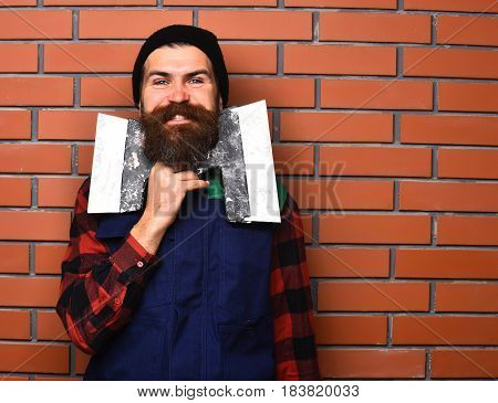 Bearded Man Holding Spatulas With Happy Face