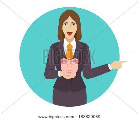 Businesswoman holding a piggy bank and pointing something beside of him. Portrait of businesswoman character in a flat style. Vector illustration.