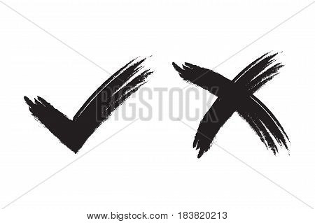Tick And Cross Signs Brush